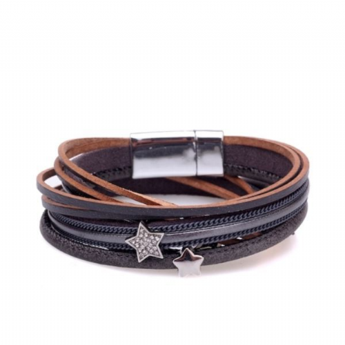 Double Wrap Sparkle Stars Leather Bracelet in Grey